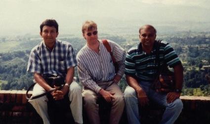 L to R - Nalaka Gunawardene, Mark Harvey (Internews) & Piyal Parakrama in Nepal, Oct 1996
