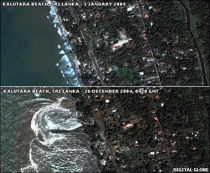 Satellite image - Kalutara before & during the tsunami